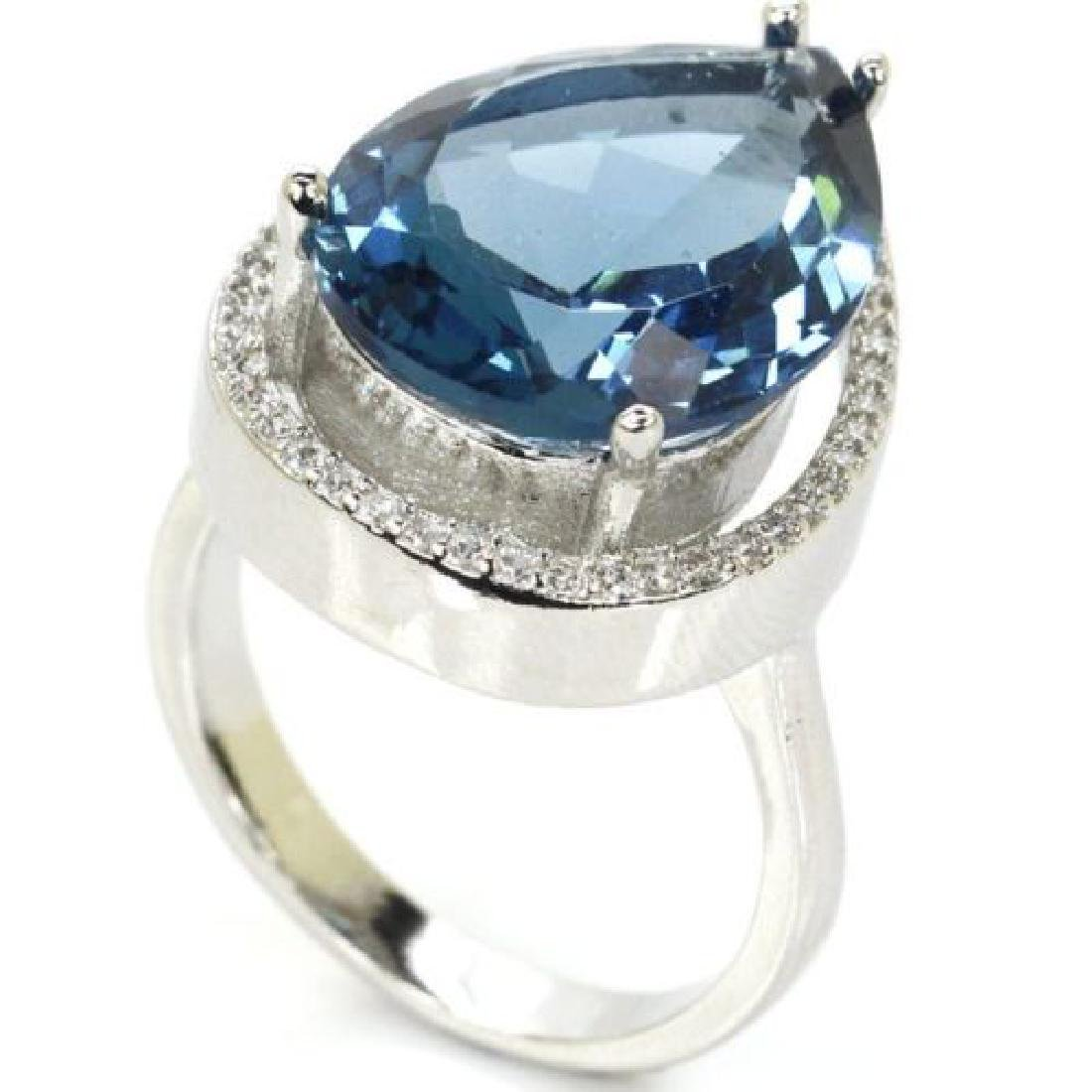 London Blue Topaz Silver Ring Us sz9.5 - 2