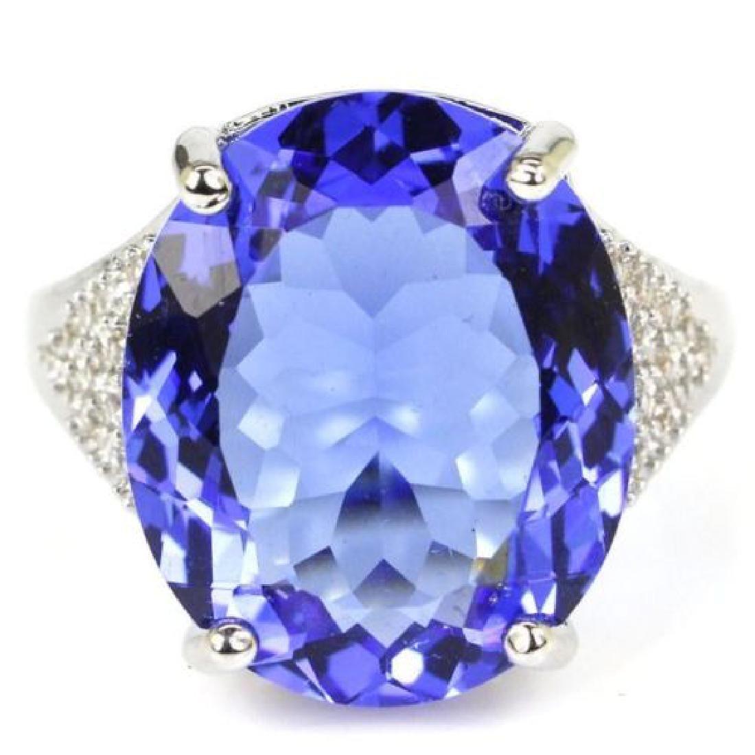 Blue Violet Tanzanite Silver Ring Us sz7.25