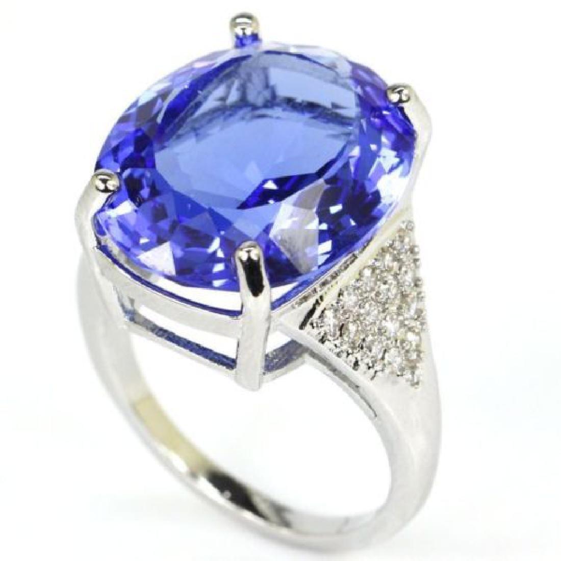 Blue Violet Tanzanite Silver Ring Us sz7.25 - 2