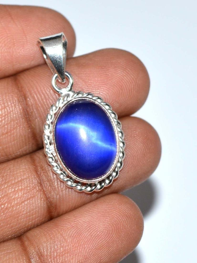 23.25 Ct Certified Natural Blue Cat's Eye Sterling - 3