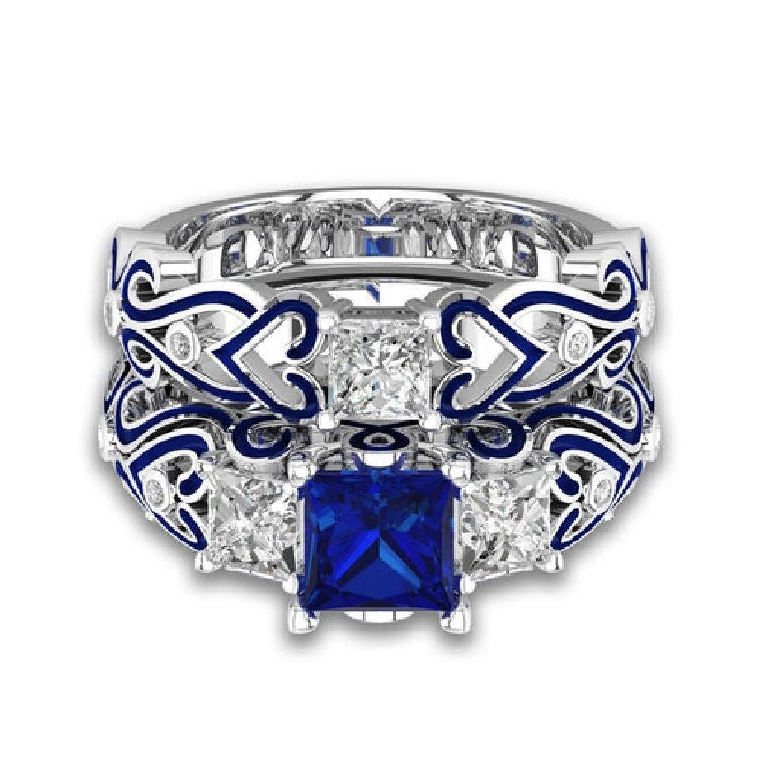 Blue square zircon engagement ring