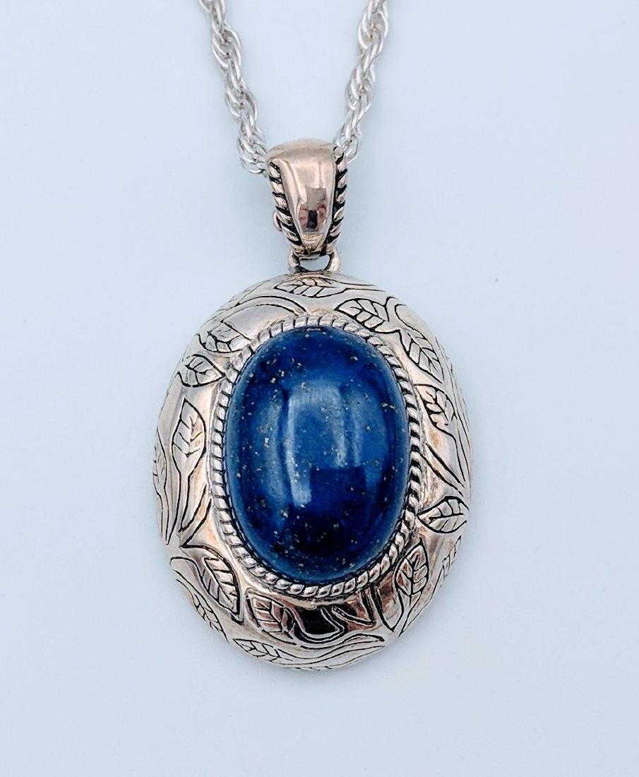 Sterling Silver Italian Necklace with Lapis Lazuli - 3