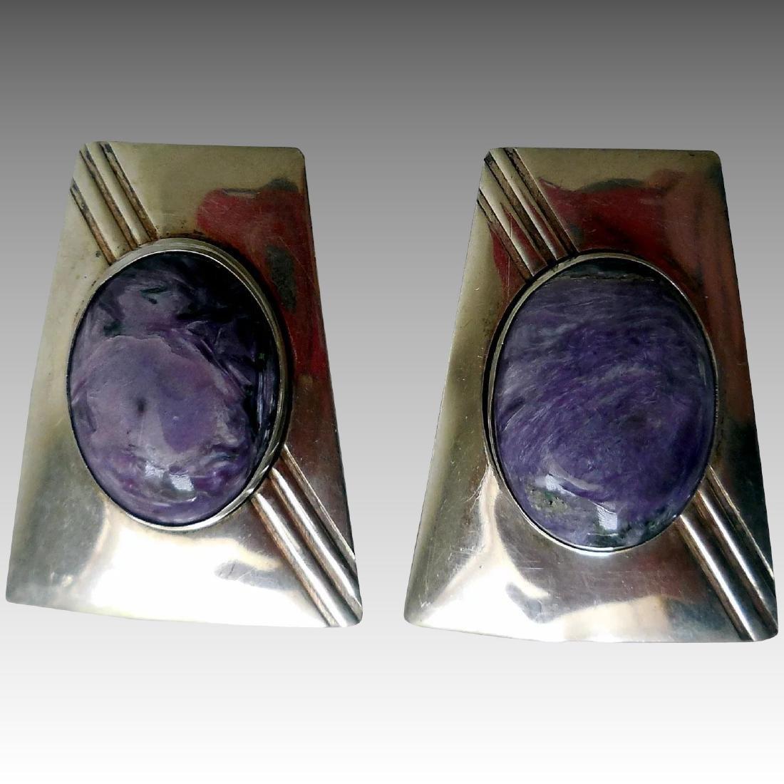 Native American Sterling Silver & Charoite Earrings