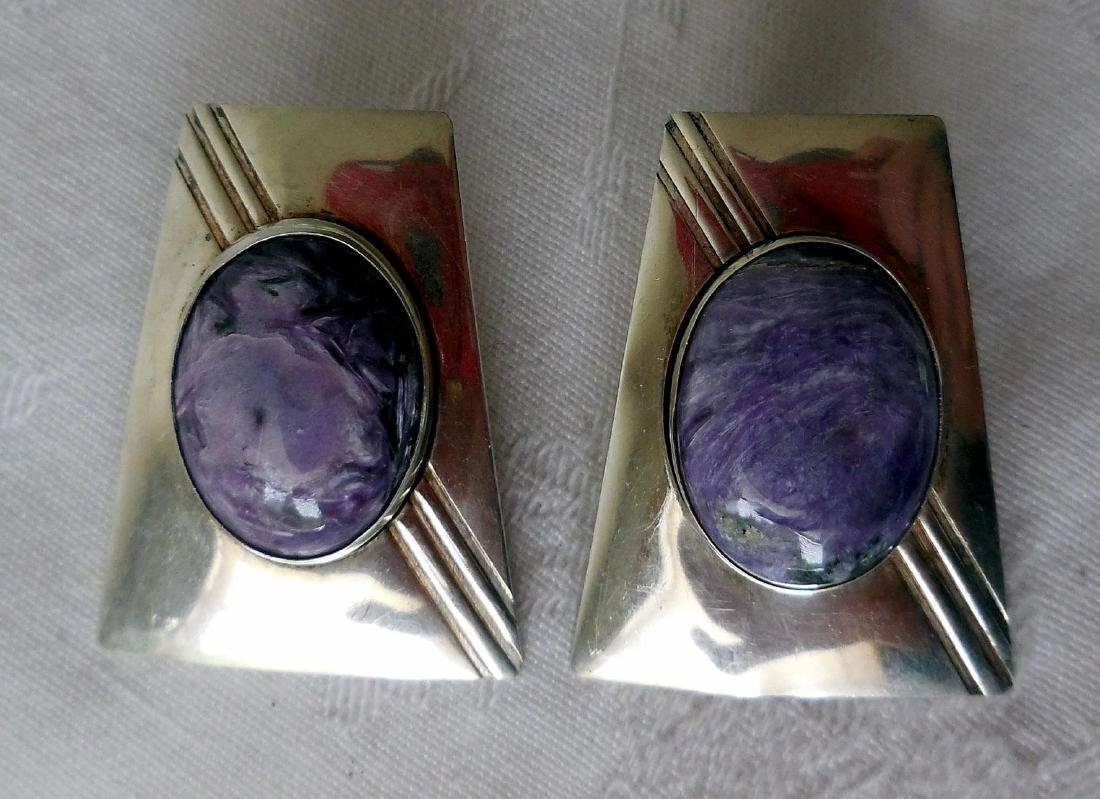 Native American Sterling Silver & Charoite Earrings - 2