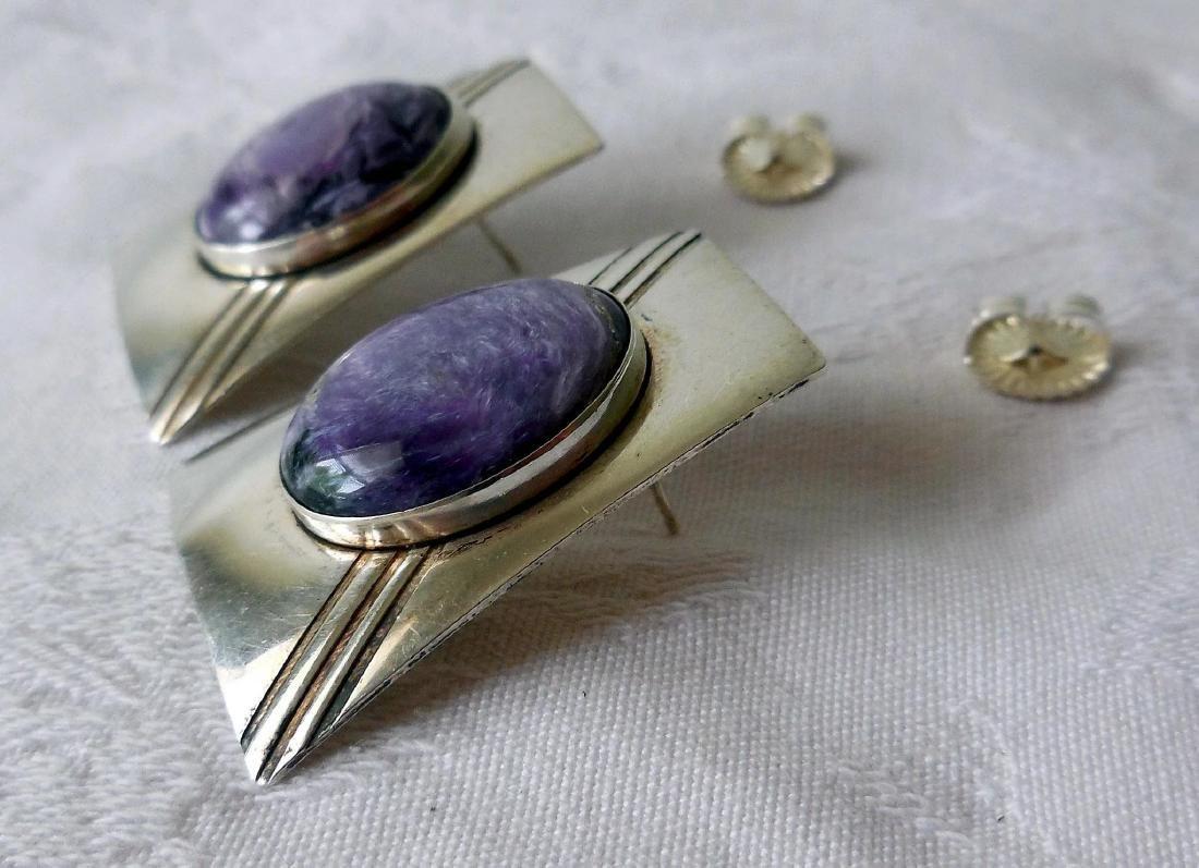Native American Sterling Silver & Charoite Earrings - 3