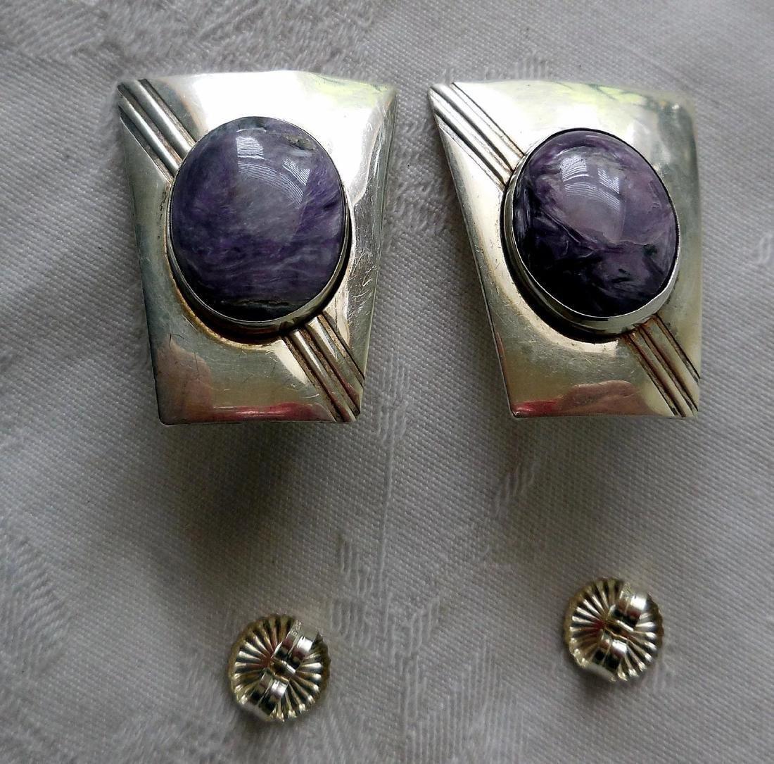 Native American Sterling Silver & Charoite Earrings - 4