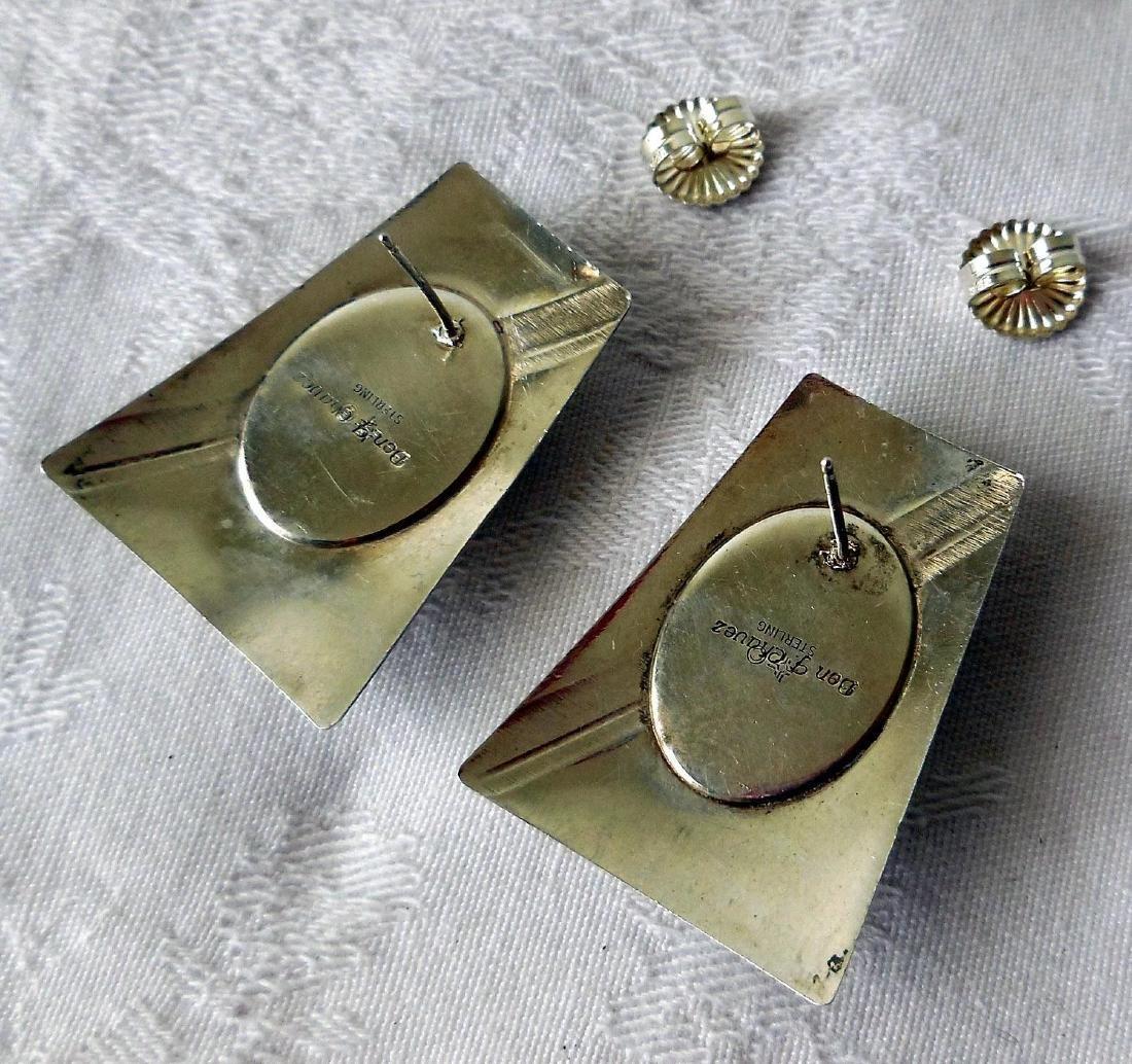 Native American Sterling Silver & Charoite Earrings - 5