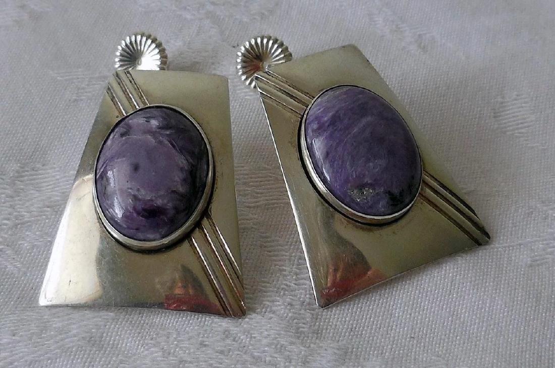 Native American Sterling Silver & Charoite Earrings - 7
