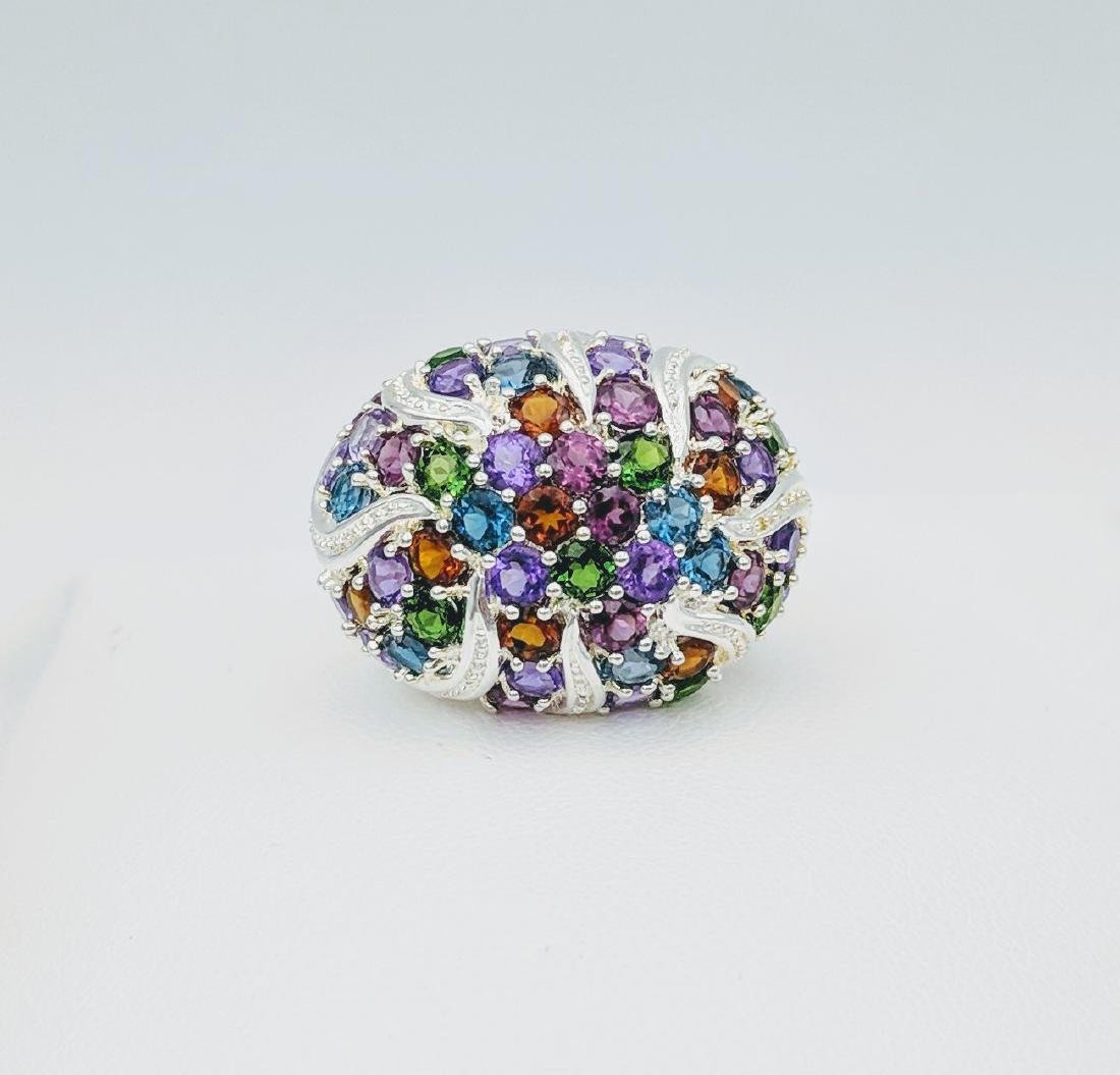 Sterling Silver Multicolored Gemstone and Diamond Ring