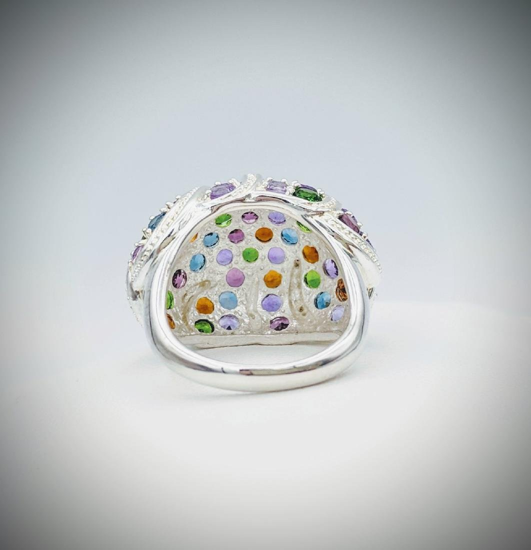 Sterling Silver Multicolored Gemstone and Diamond Ring - 2