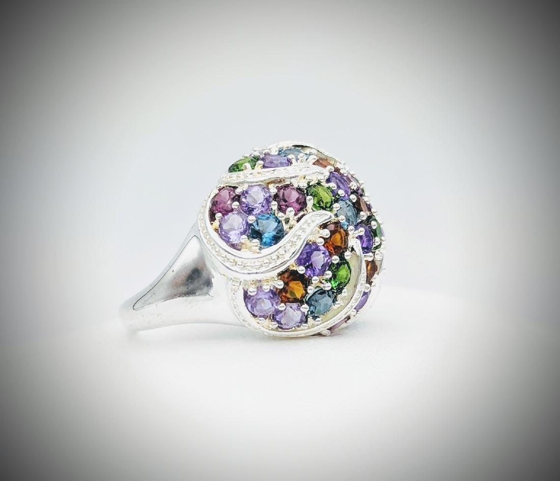 Sterling Silver Multicolored Gemstone and Diamond Ring - 3
