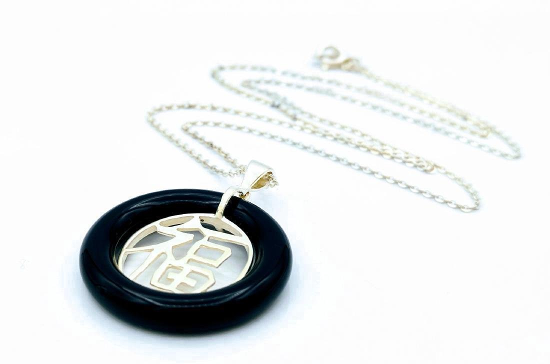 Sterling Silver Round Pendant & Necklace - 2