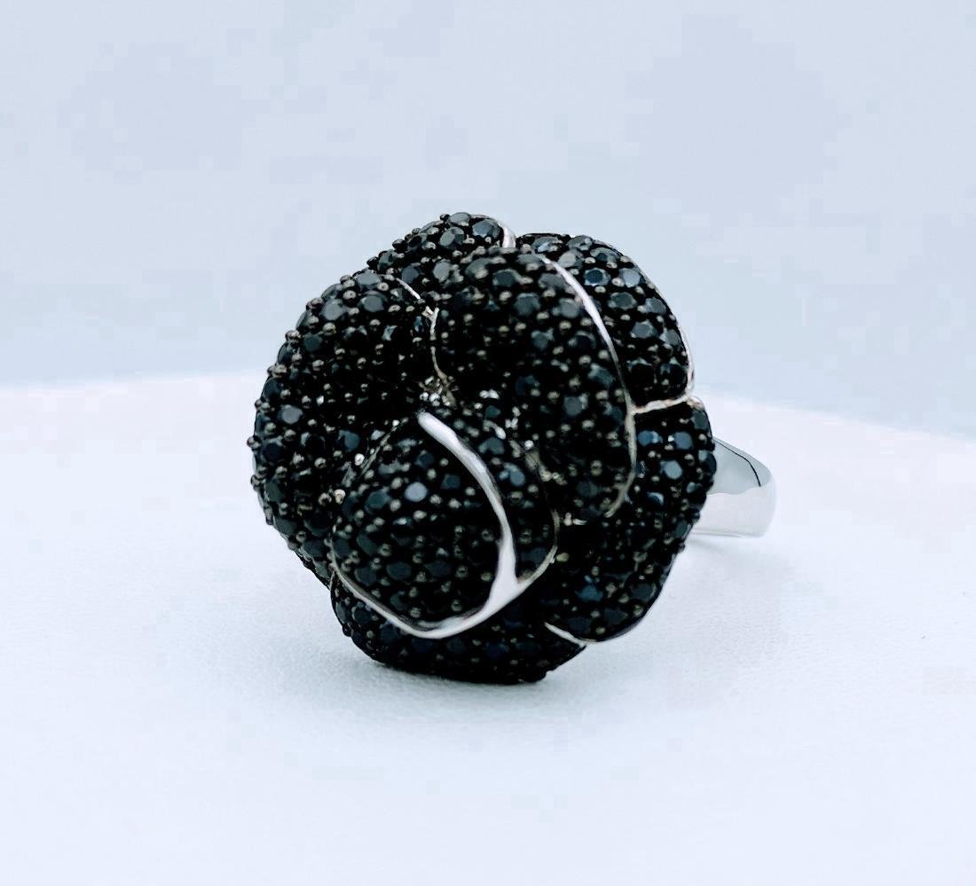 Sterling Silver Rose Design Black Onyx Ring