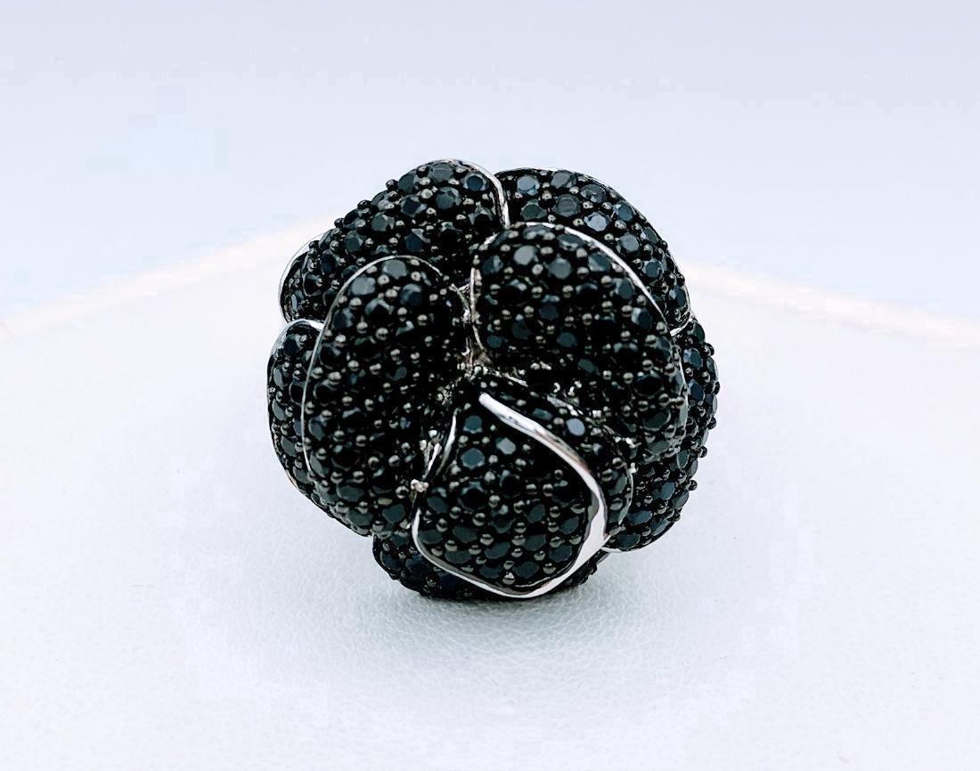 Sterling Silver Rose Design Black Onyx Ring - 2