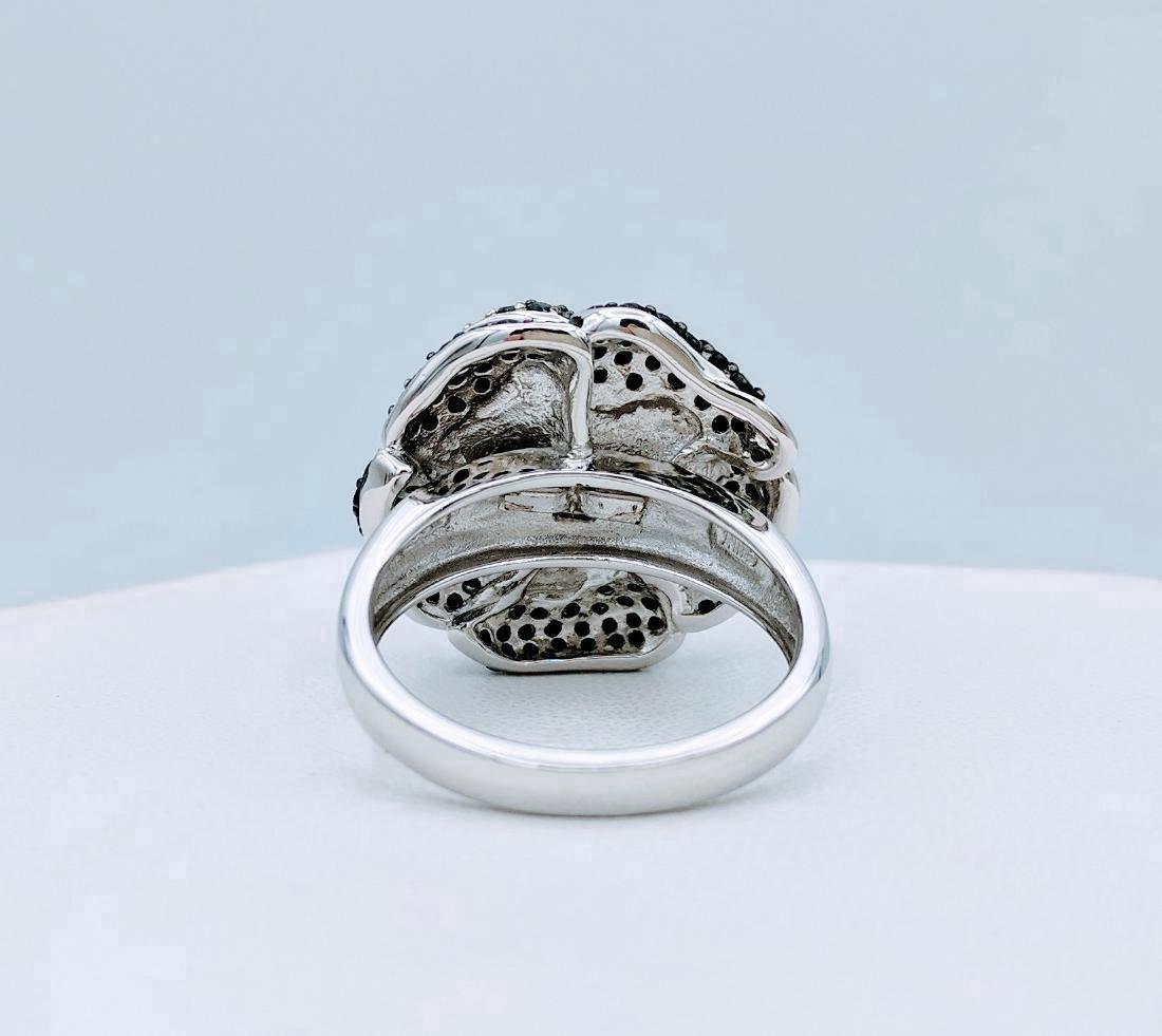 Sterling Silver Rose Design Black Onyx Ring - 3