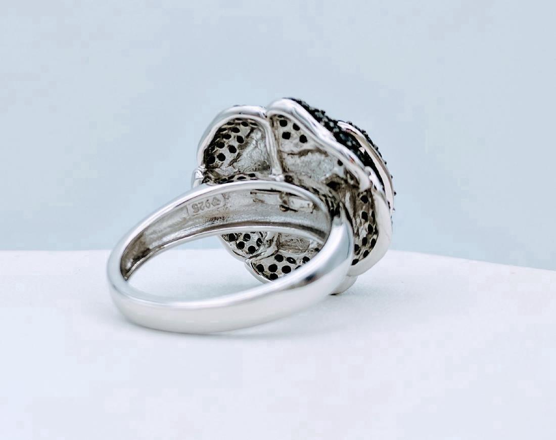 Sterling Silver Rose Design Black Onyx Ring - 4