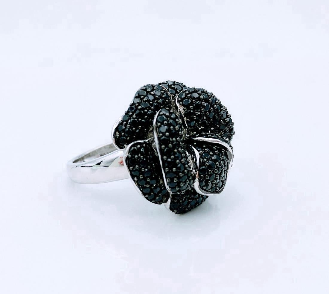 Sterling Silver Rose Design Black Onyx Ring - 5