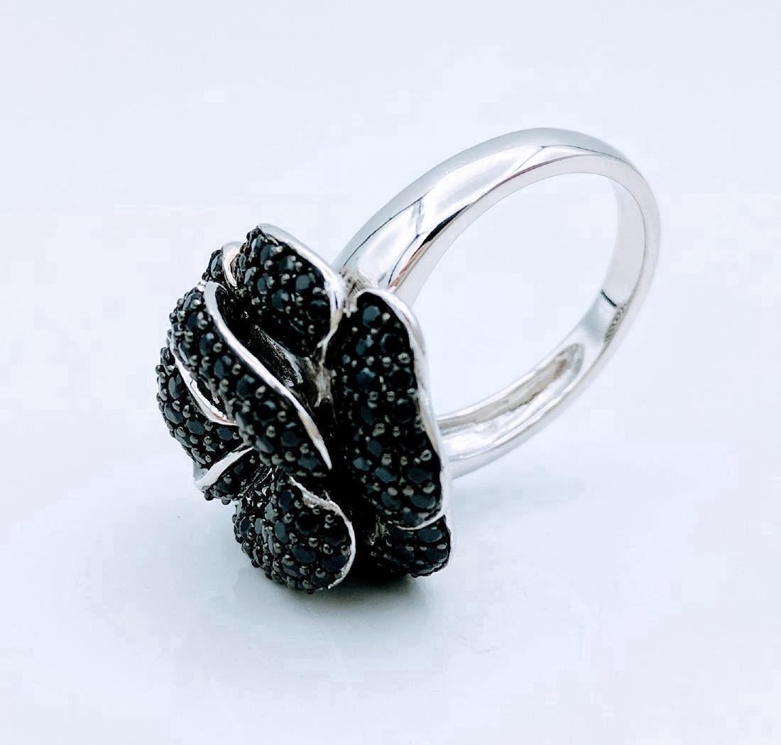 Sterling Silver Rose Design Black Onyx Ring - 6