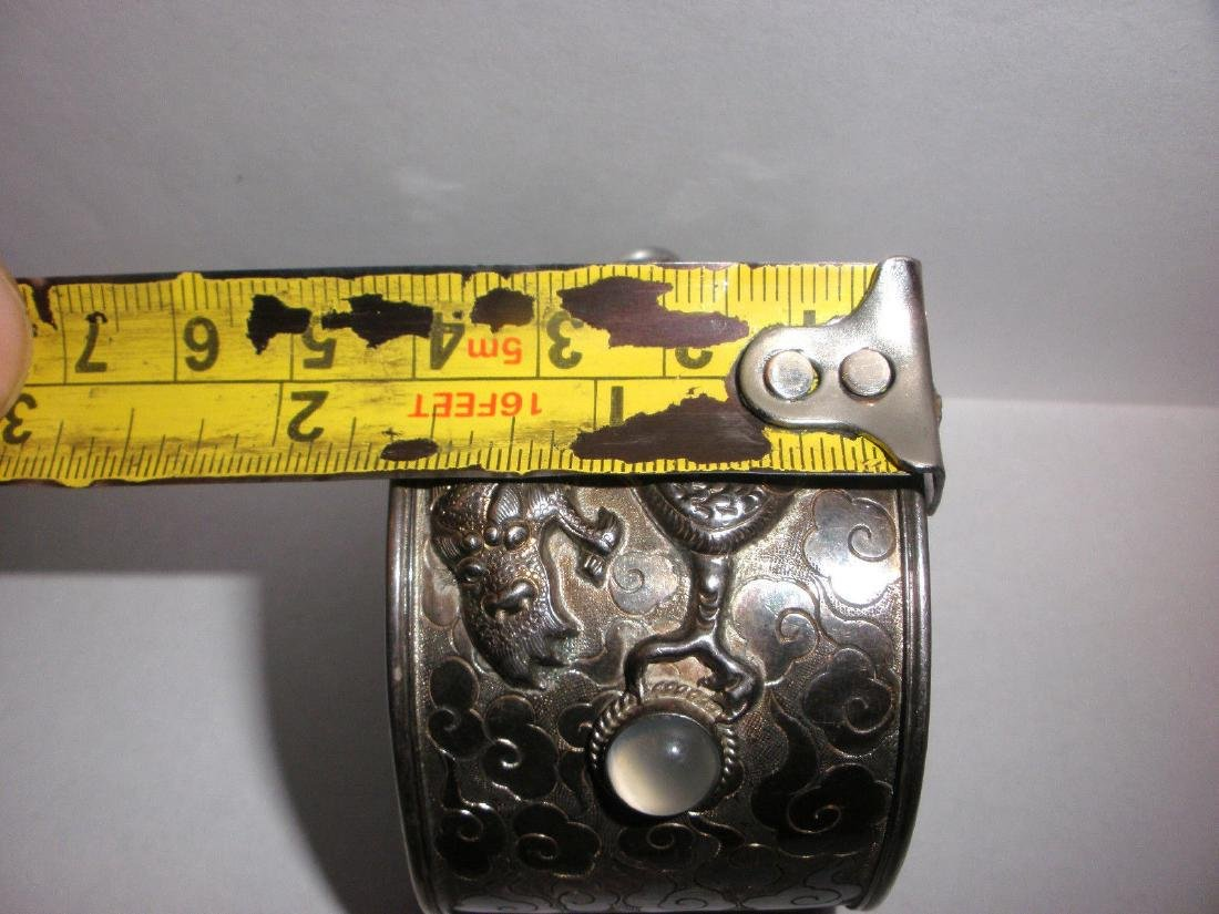 ANTIQUE CHINESE STERLING SILVER EXPORT DRAGON CUFF - 6