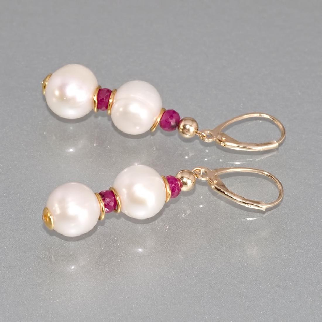 Classic Style Pearls and Rubies Earrings - 3