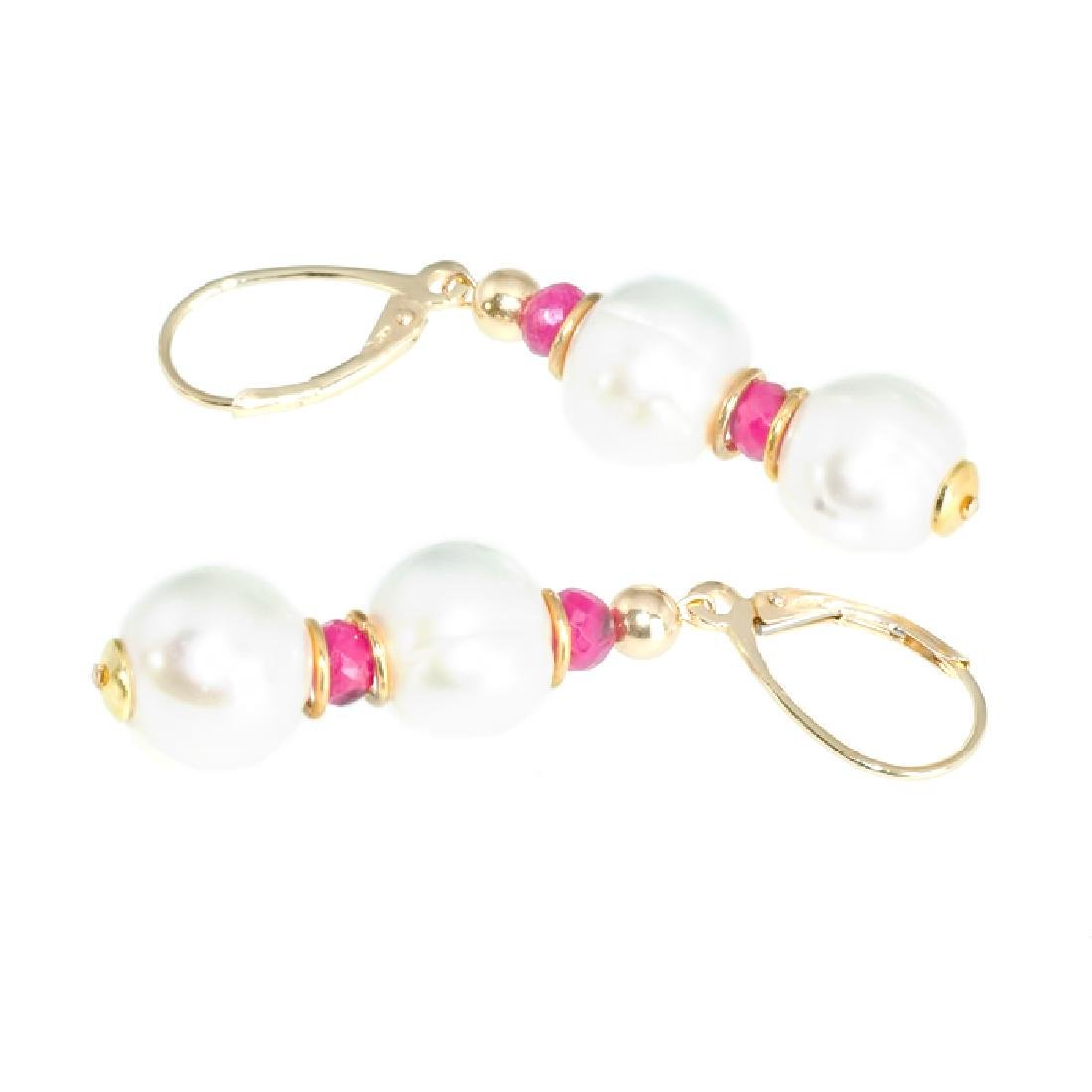 Classic Style Pearls and Rubies Earrings - 4