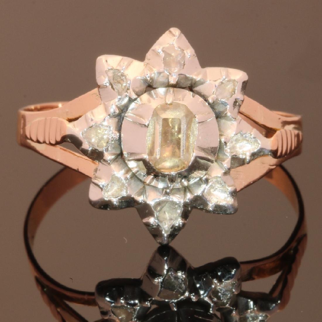 Antique 18K Gold Rose Cut Diamond Ring, c1780