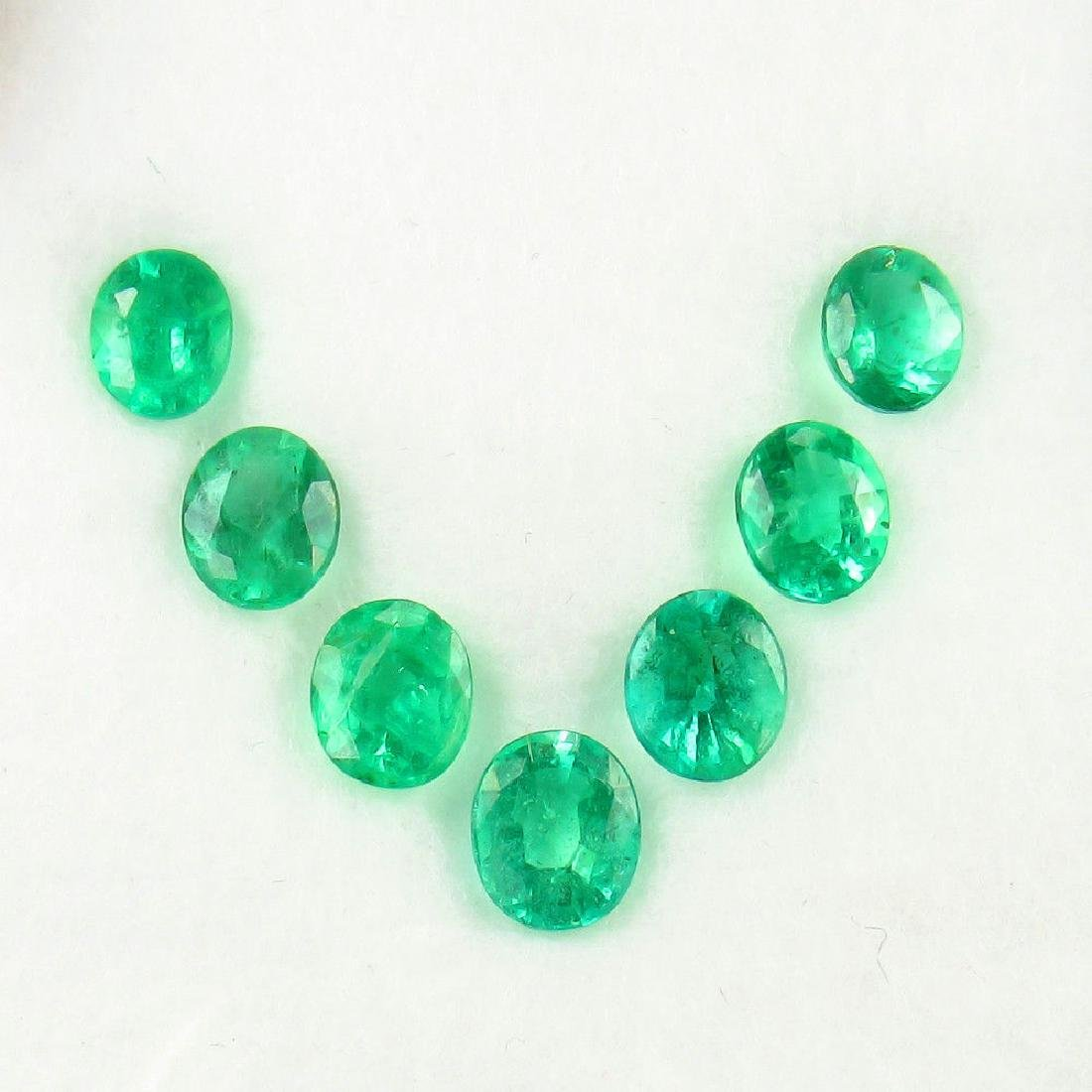 4.02 Ct 7 Loose Zambian Emerald Oval Necklace Set