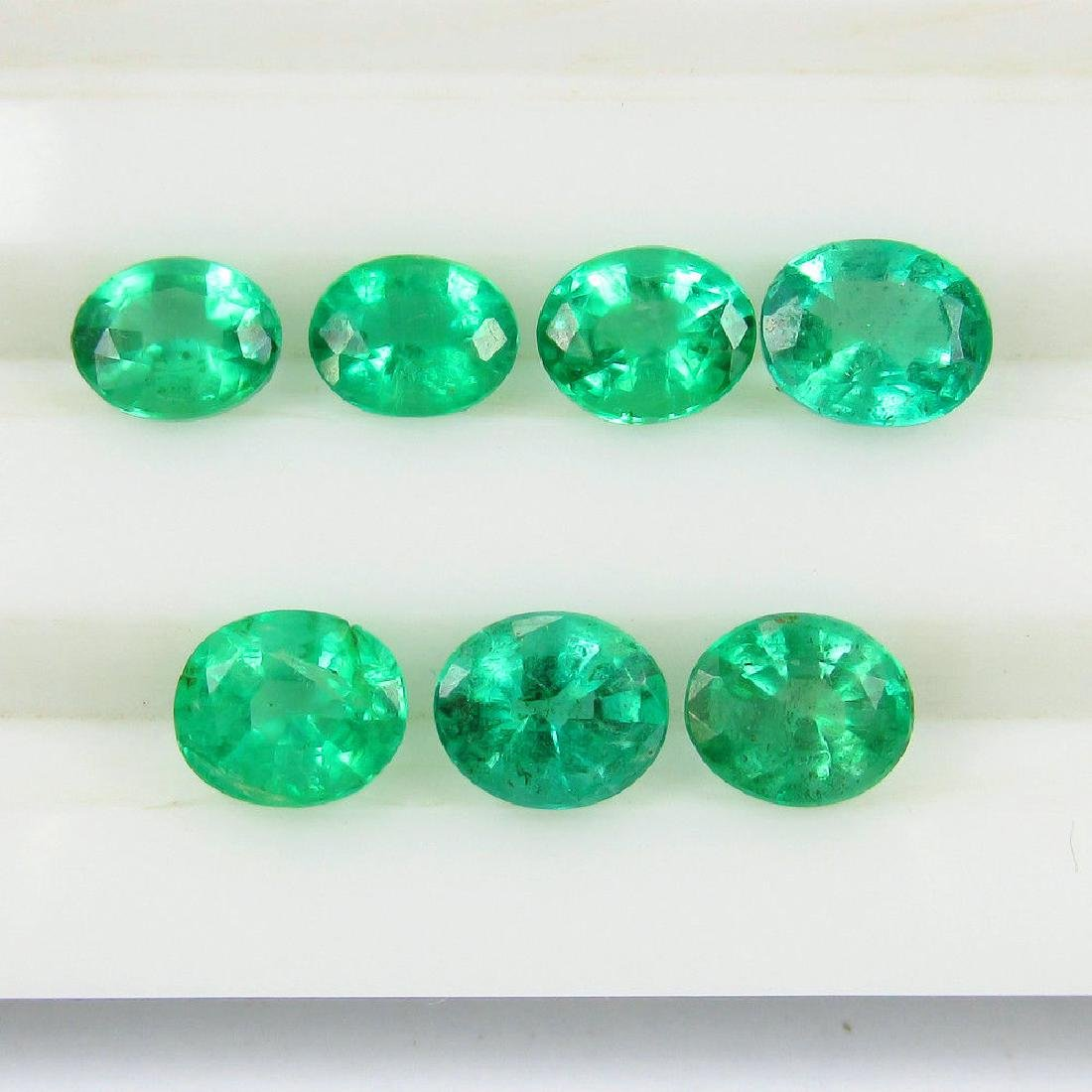 4.02 Ct 7 Loose Zambian Emerald Oval Necklace Set - 3