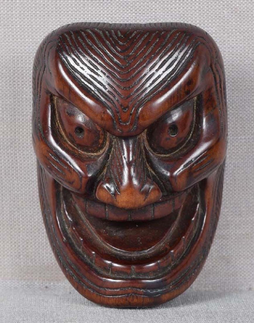 Early 19c netsuke mask SHIKAMI chestnut himotoshi