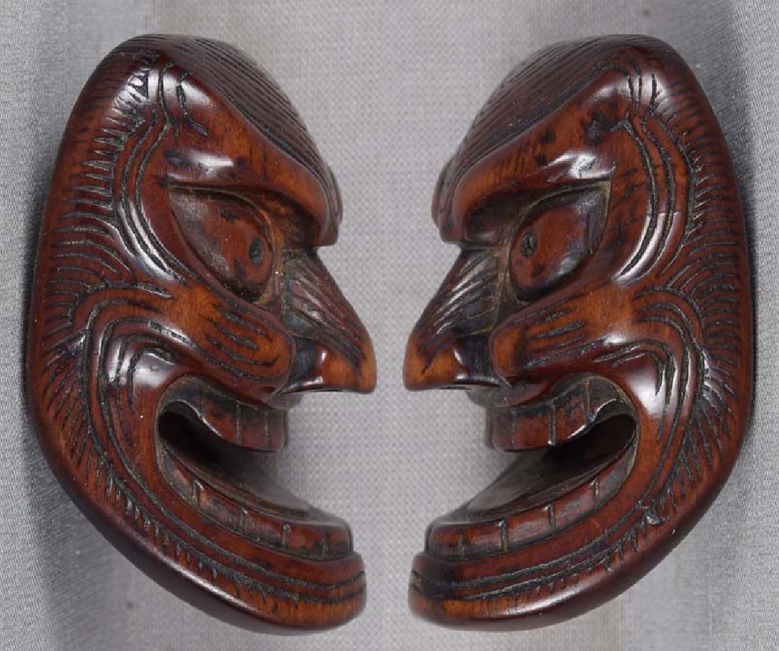 Early 19c netsuke mask SHIKAMI chestnut himotoshi - 2