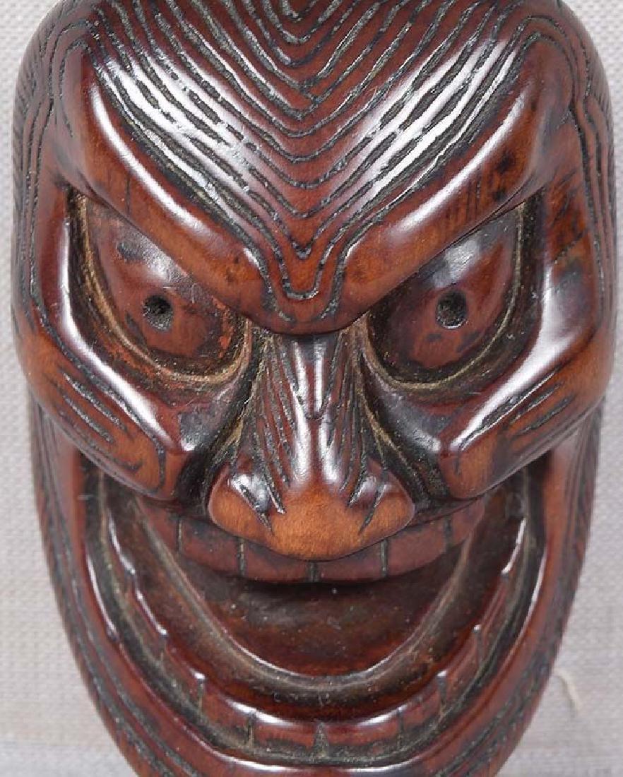 Early 19c netsuke mask SHIKAMI chestnut himotoshi - 3