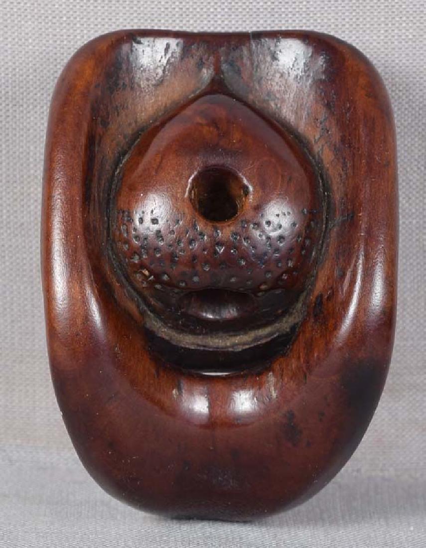 Early 19c netsuke mask SHIKAMI chestnut himotoshi - 4