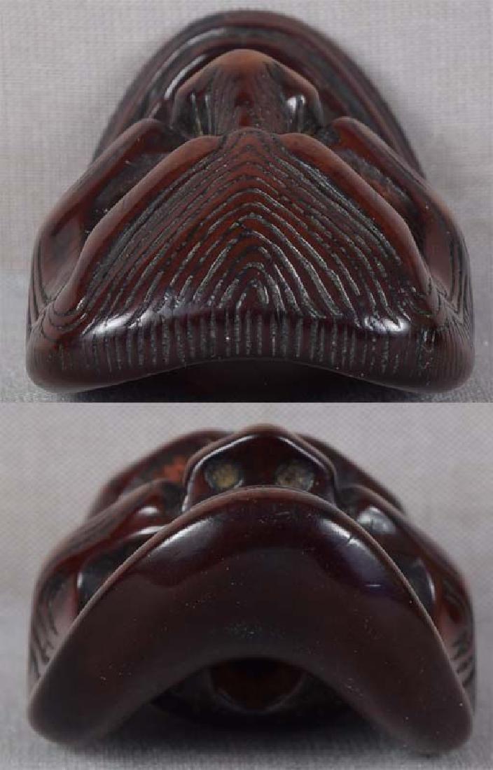 Early 19c netsuke mask SHIKAMI chestnut himotoshi - 5