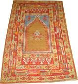 Antique Turkish Ghiordes Melas Oushak Prayer Rug 3.4x5