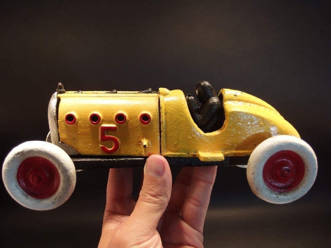 Yellow Cast Iron #5 Toy Race Car w Lifting Hood - 10