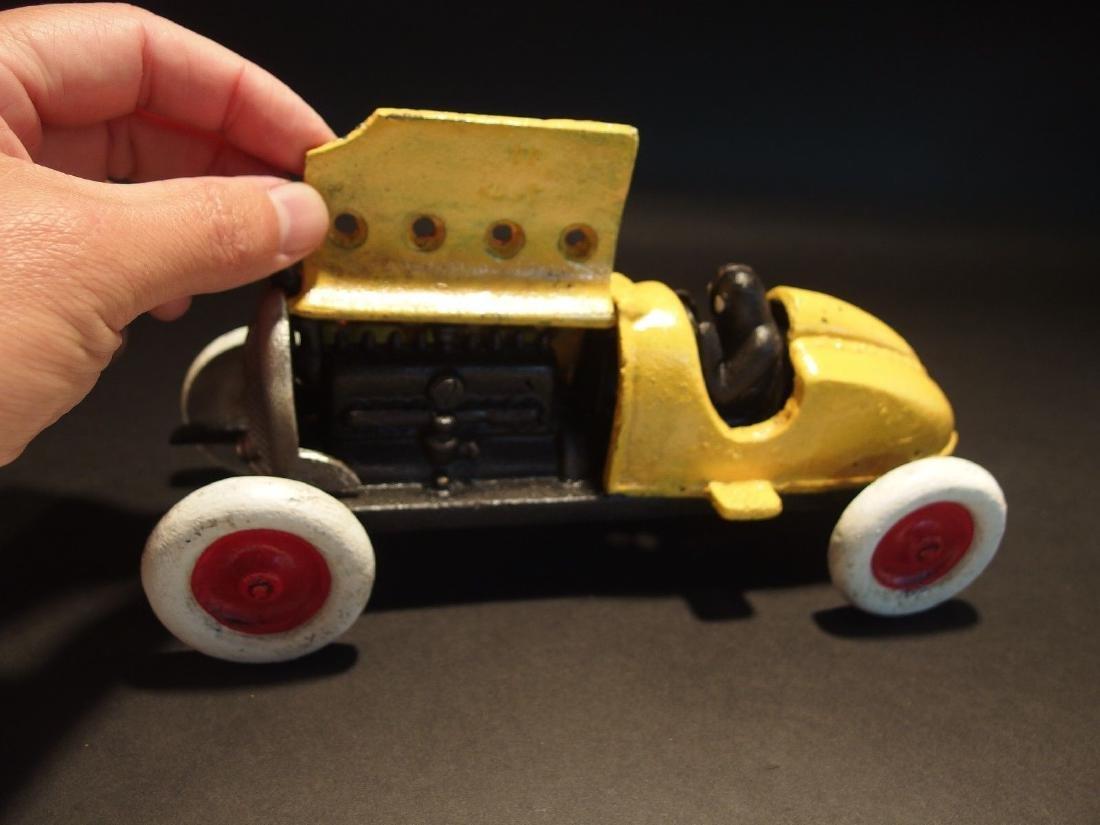 Yellow Cast Iron #5 Toy Race Car w Lifting Hood - 12