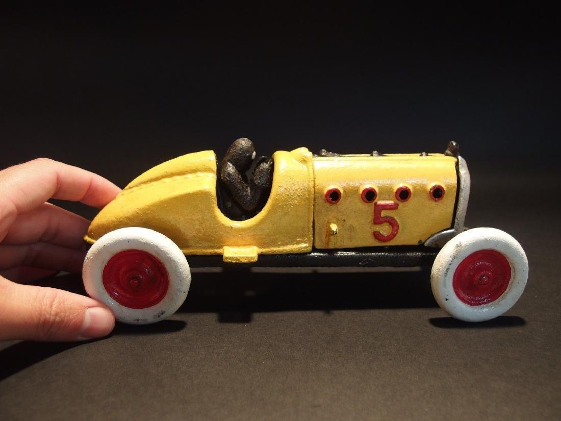Yellow Cast Iron #5 Toy Race Car w Lifting Hood
