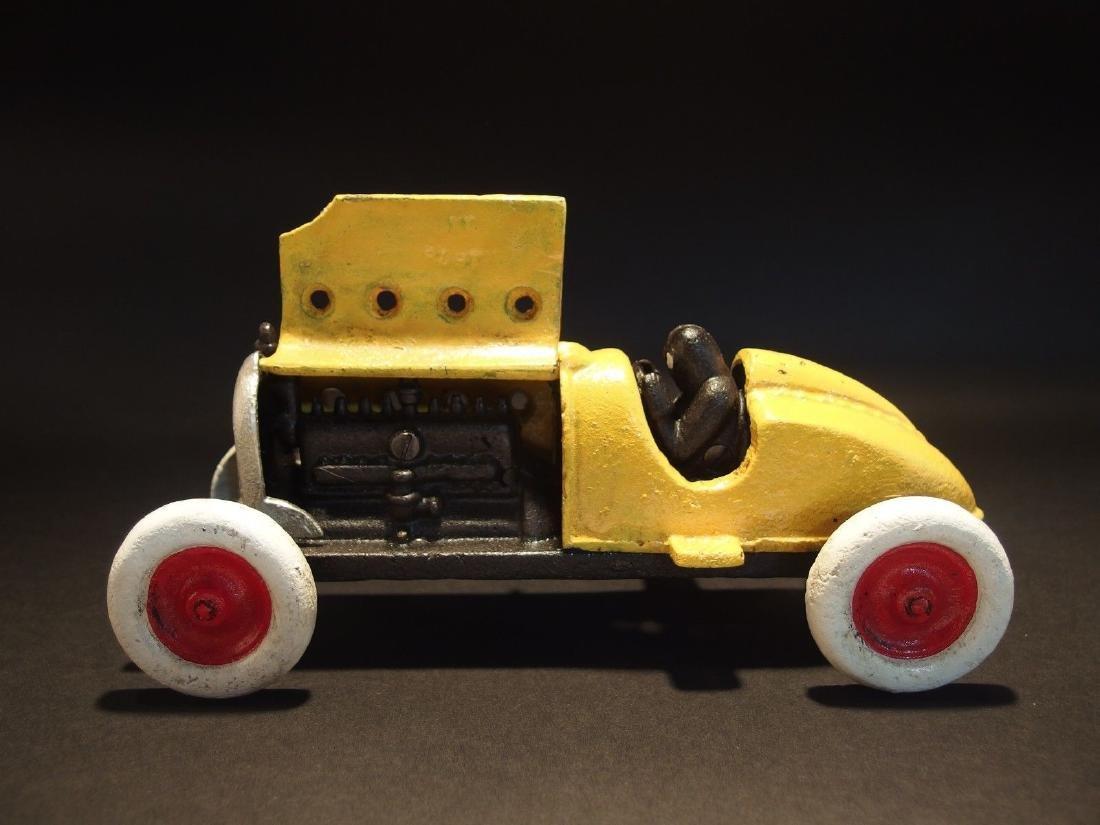 Yellow Cast Iron #5 Toy Race Car w Lifting Hood - 2