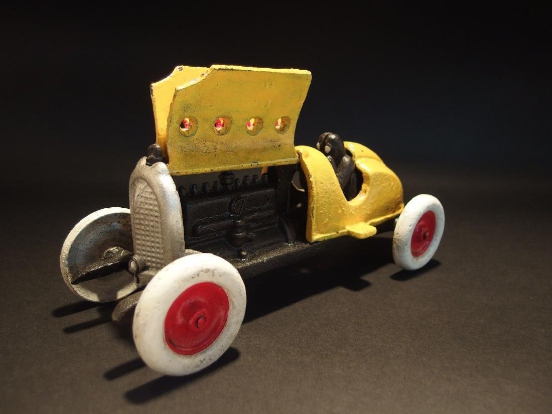Yellow Cast Iron #5 Toy Race Car w Lifting Hood - 3