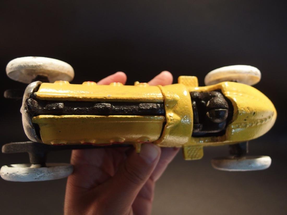 Yellow Cast Iron #5 Toy Race Car w Lifting Hood - 5