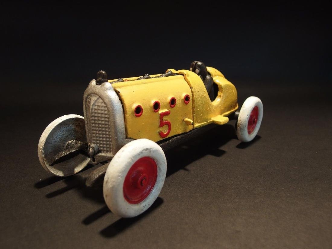 Yellow Cast Iron #5 Toy Race Car w Lifting Hood - 6