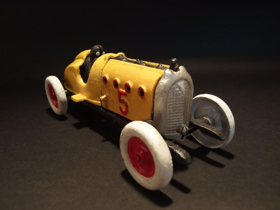 Yellow Cast Iron #5 Toy Race Car w Lifting Hood - 7