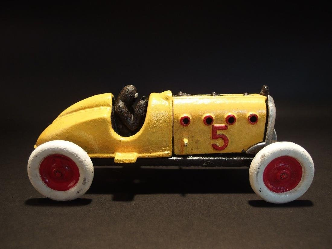 Yellow Cast Iron #5 Toy Race Car w Lifting Hood - 8