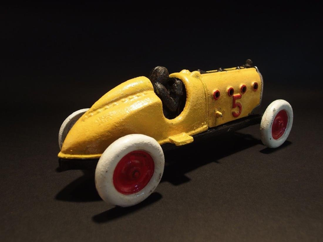 Yellow Cast Iron #5 Toy Race Car w Lifting Hood - 9