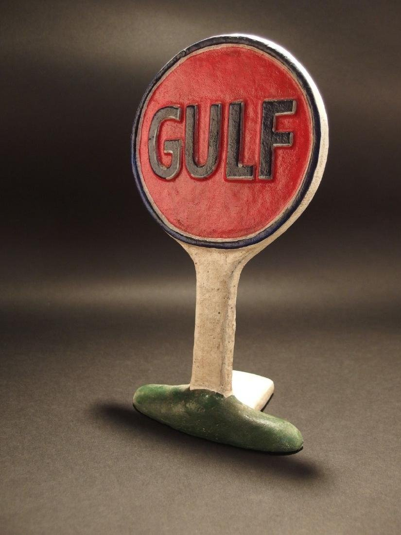 Cast Iron Gulf Gas Oil Door Stop - 10