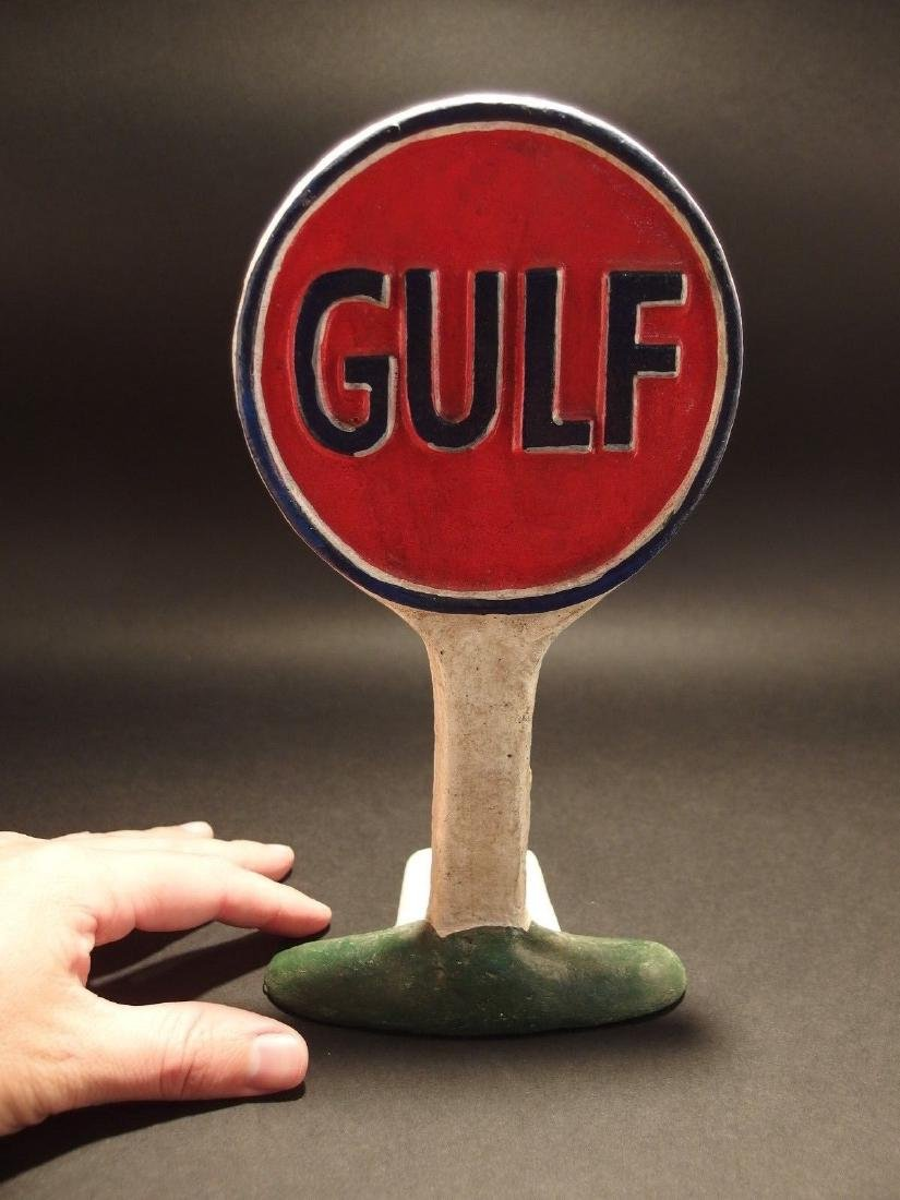 Cast Iron Gulf Gas Oil Door Stop