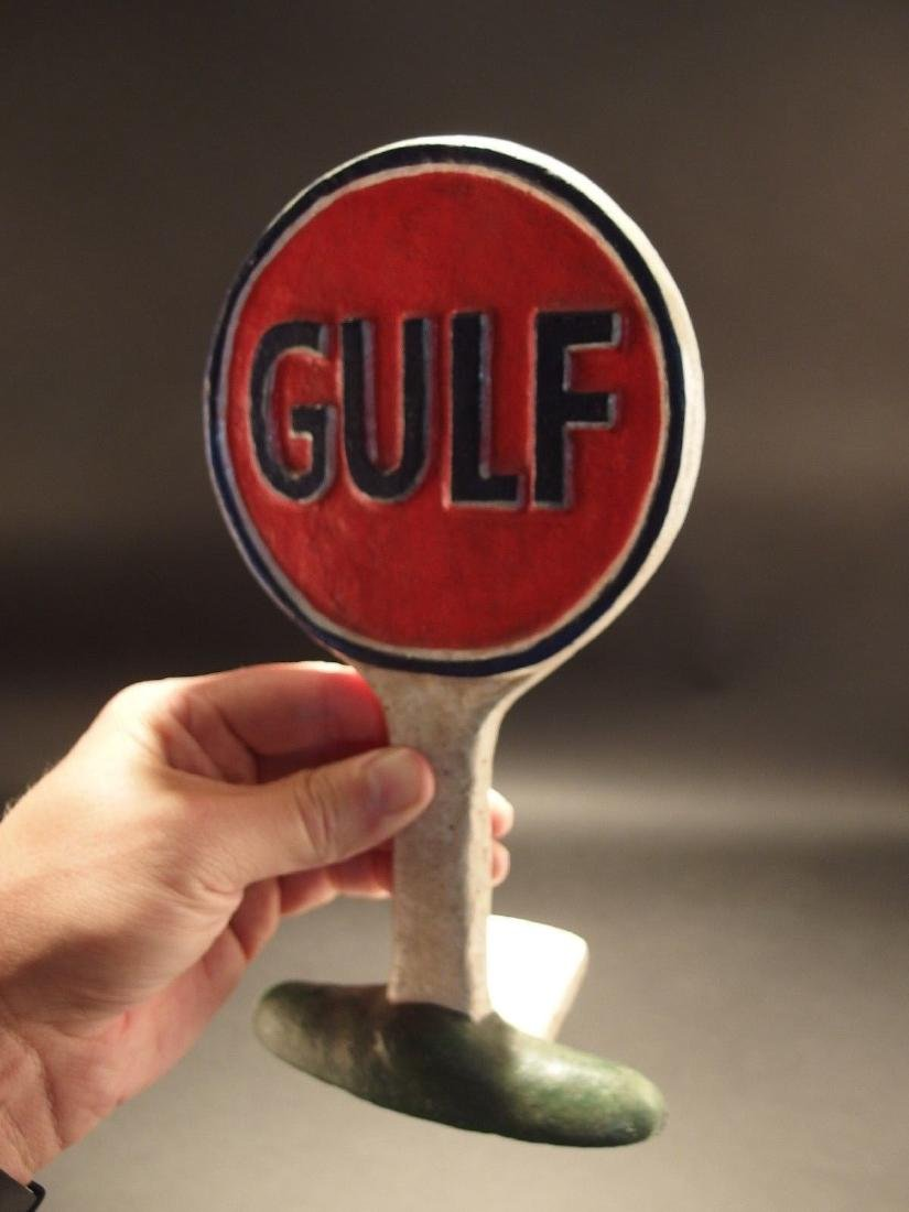 Cast Iron Gulf Gas Oil Door Stop - 2