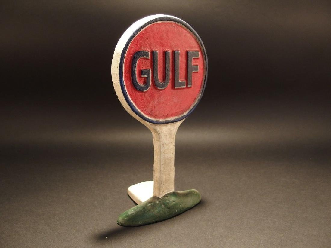 Cast Iron Gulf Gas Oil Door Stop - 7
