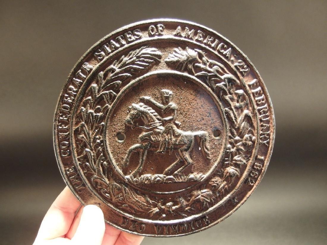 Civil War Confederate CSA Great Seal Cast Iron Plaque