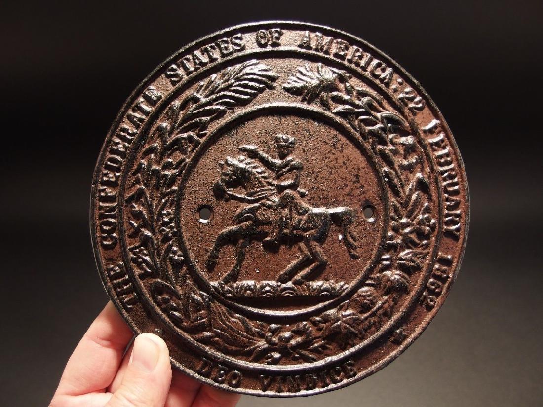 Civil War Confederate CSA Great Seal Cast Iron Plaque - 2